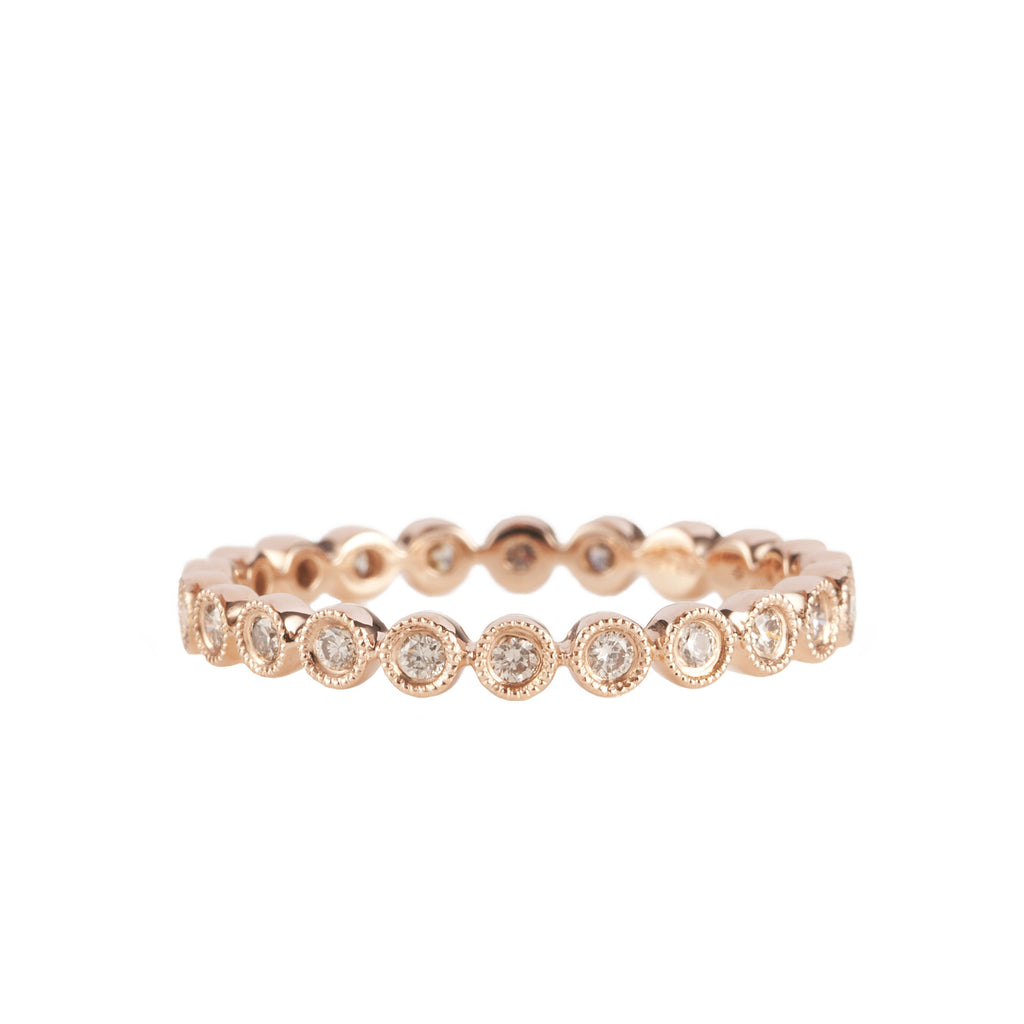 14K Rose Gold Fancy Bezel Diamond Eternity Ring