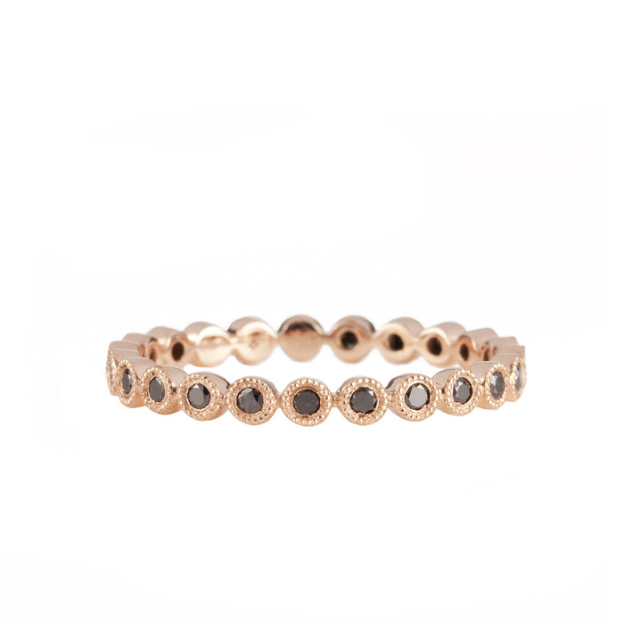 14K Rose Gold Fancy Bezel Black Diamond Eternity Ring