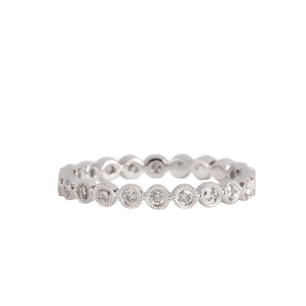 14K White Gold Fancy Bezel Diamond Eternity Ring