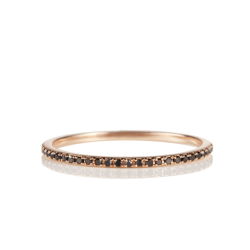14K Rose Gold and Black Diamond Eternity Band