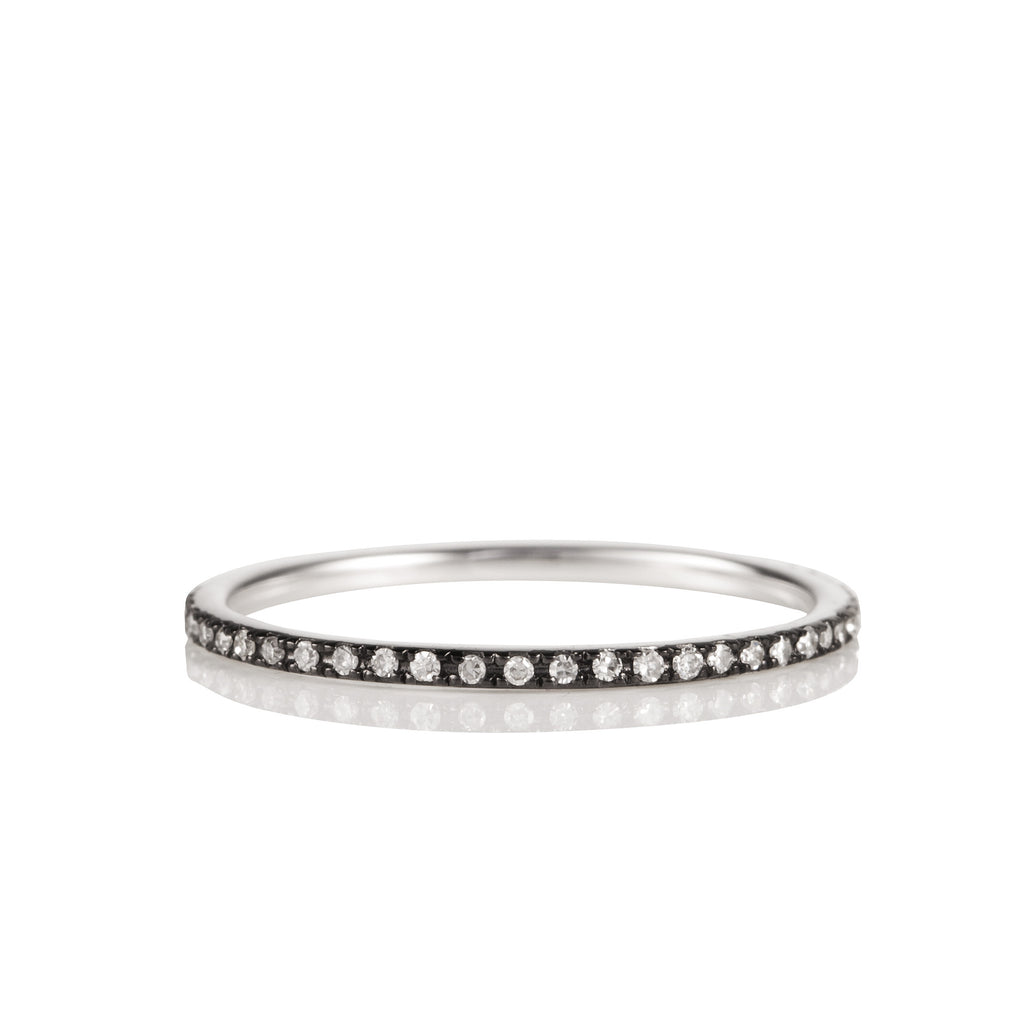 14K White Gold Rhodium and Diamond Eternity Band