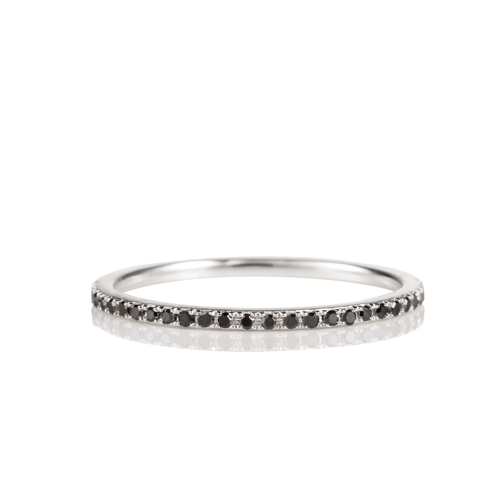 14K White Gold and Black Diamond Eternity Band