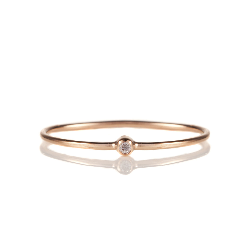 14K Rose Gold Solitaire Diamond Stack Band