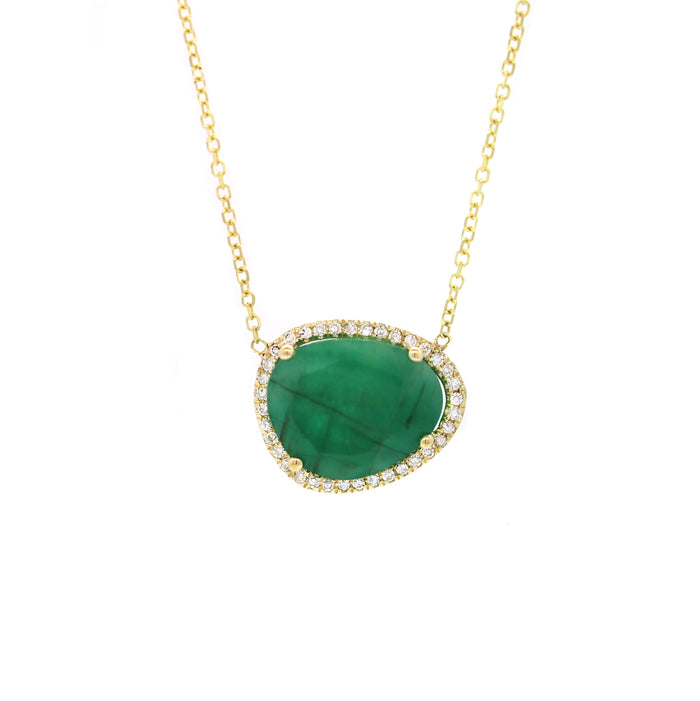 Emerald with Pave Diamond Necklace