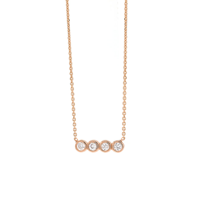Quad Diamond Bezel Necklace - Rose