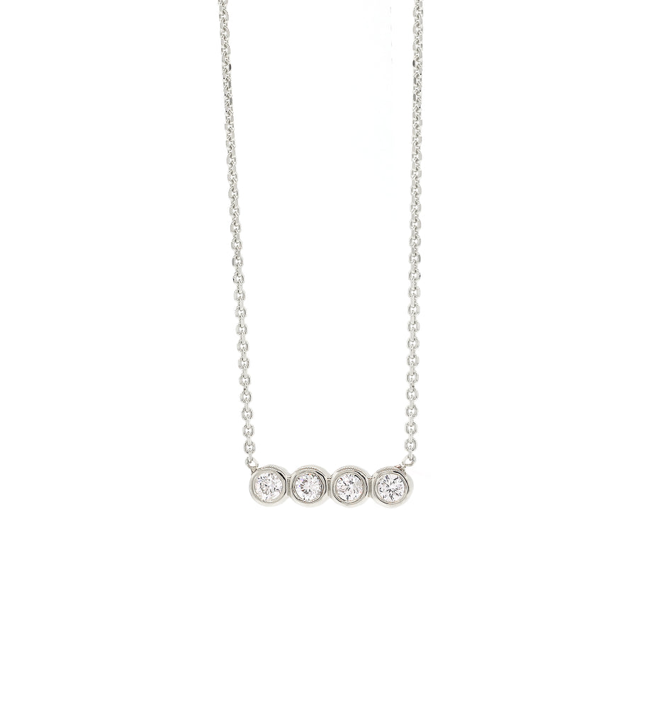 Quad Diamond Bezel Necklace - White