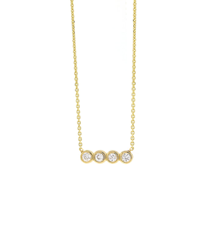 Quad Diamond Bezel Necklace