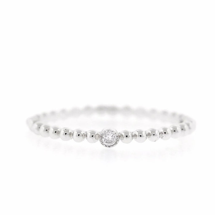 Gold Bead Band with Solitaire Diamond - White Gold