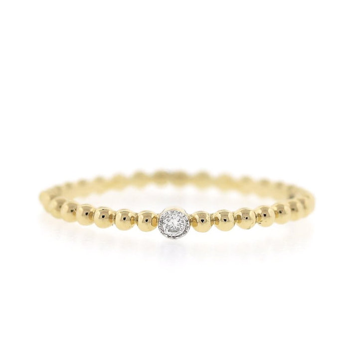 Gold Bead Band Stack Ring with Diamond