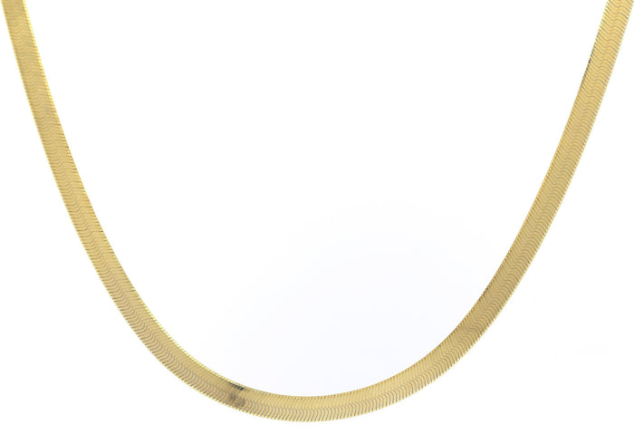 Gold Herringbone Chain Necklace - wide