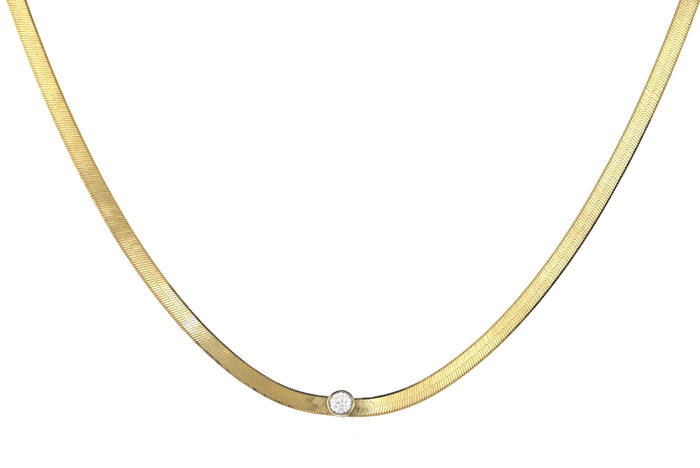 Gold Herringbone Chain Necklace with Diamond - Lg
