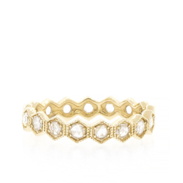 Rose Cut Diamond Hexagon Eternity Band Yellow