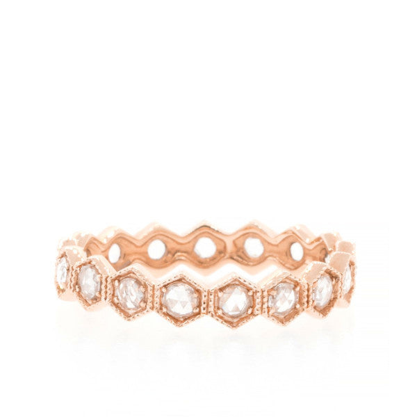 Rose Cut Diamond Hexagon Eternity Band Rose