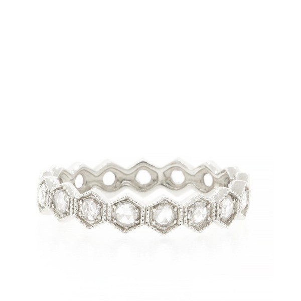 Rose Cut Diamond Hexagon Eternity Band White