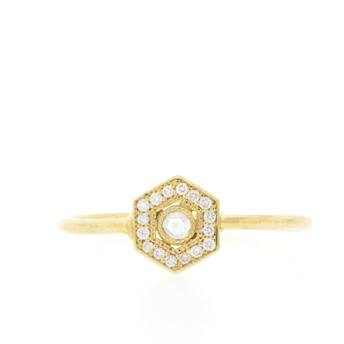 Hexagon Ring with Pave Diamonds