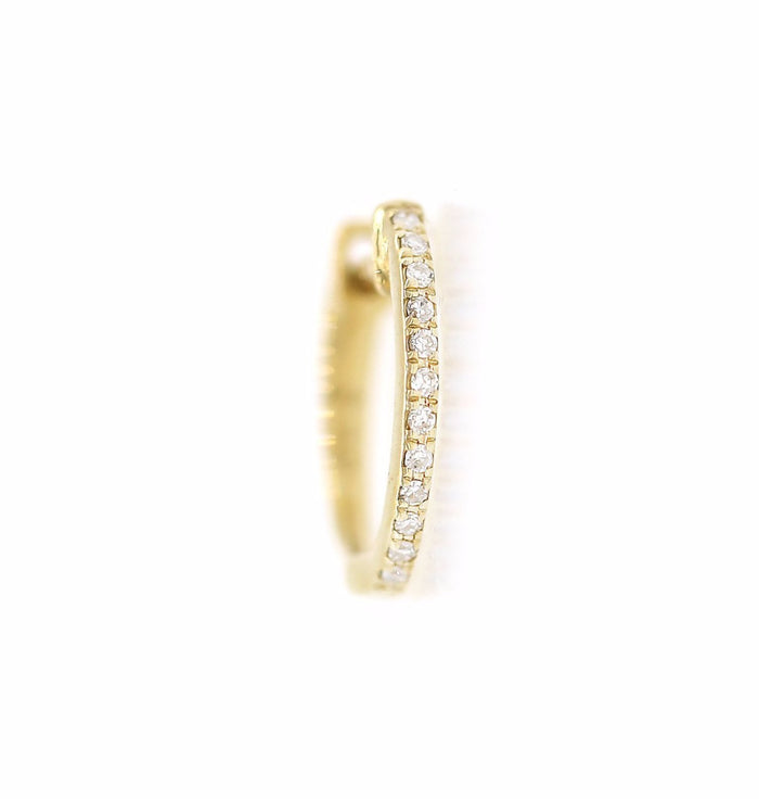 Pave Diamond Huggie Earrings - Medium