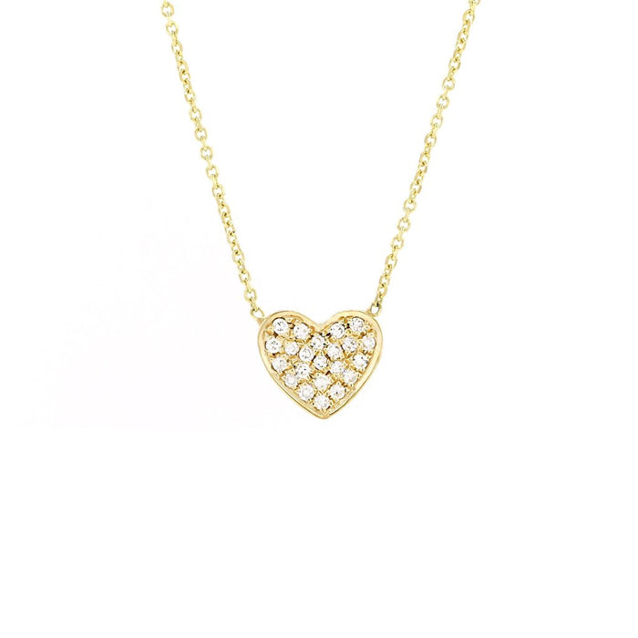 Pave Diamond Heart Necklace-Yellow Gold