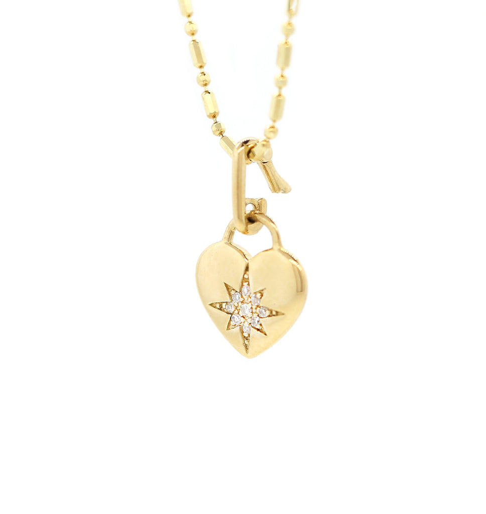 Gold Starburst Diamond Heart Charm Link Necklace