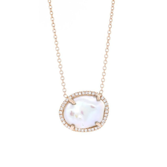 Pearl and Pave Diamond Necklace - Rose Gold