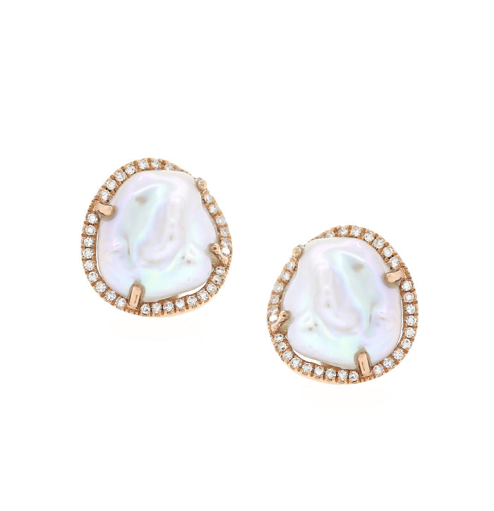 Pearl and Diamond Stud Earrings - Rose Gold