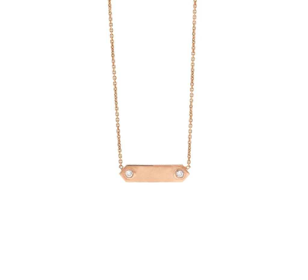 Petite Plaque Necklace with Diamonds