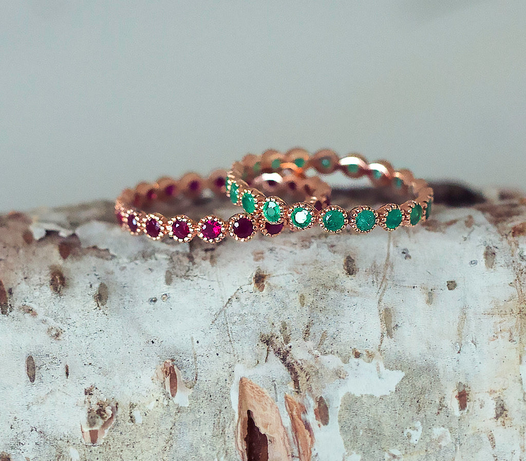 Emerald Eternity Ring Embellished Bezel