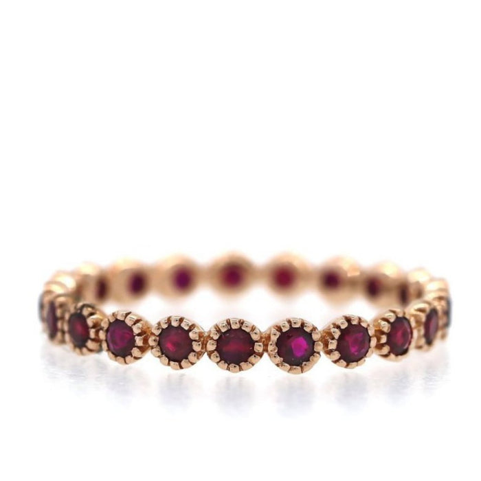 Ruby Eternity Ring Embellished Bezel