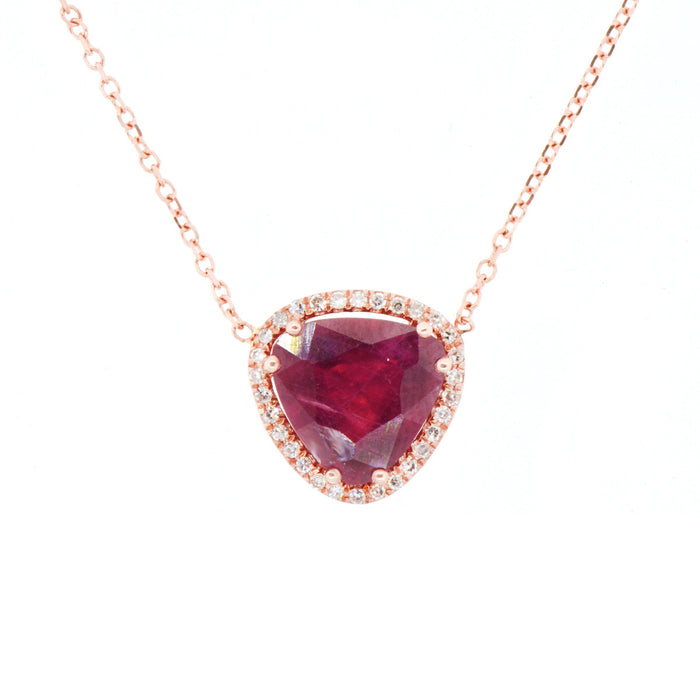 Ruby with Pave Diamond Necklace