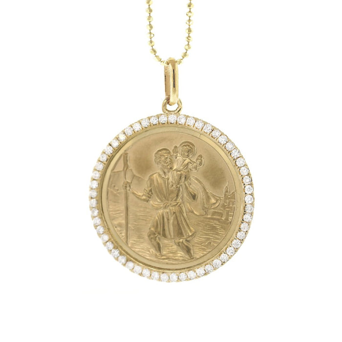 SaintChristopher Large Gold Diamond Charm