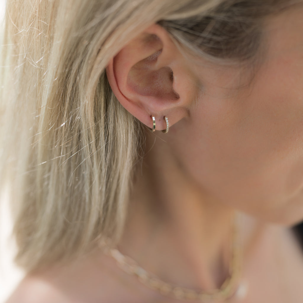 Ultra Petite Pave Huggie Single Earring - White