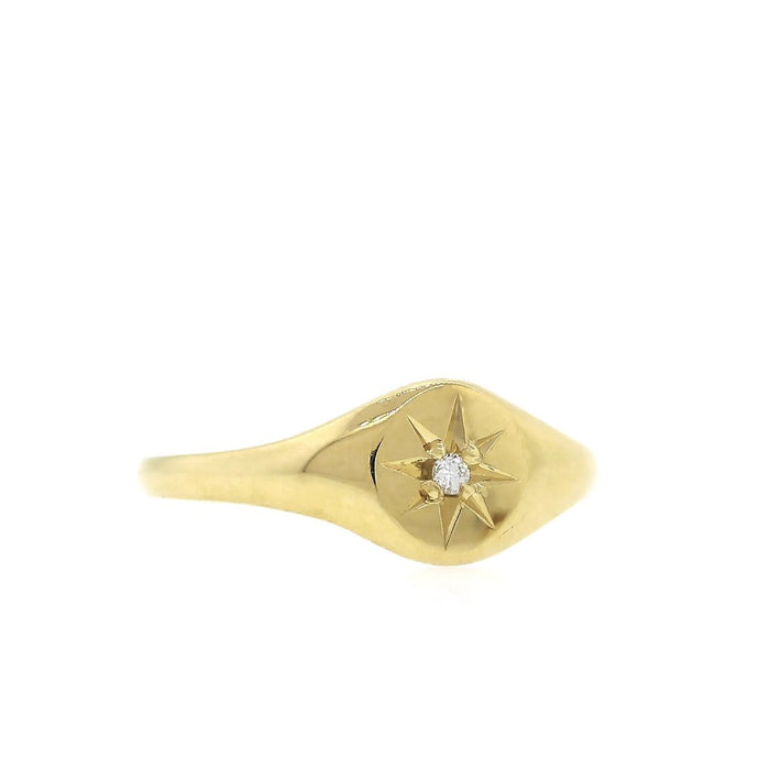 Starburst Diamond Signet Ring