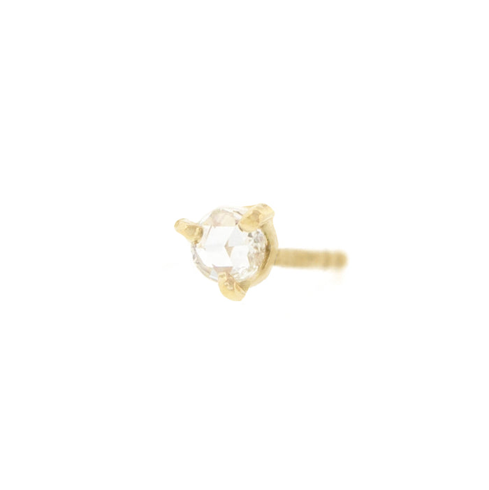 Solitaire Rose Cut Diamond Stud Earrings