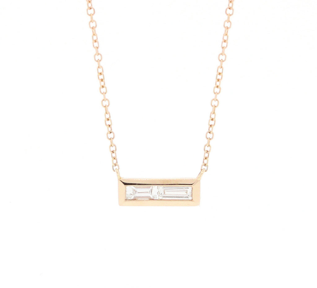 Double Baguette Diamond Necklace Yellow