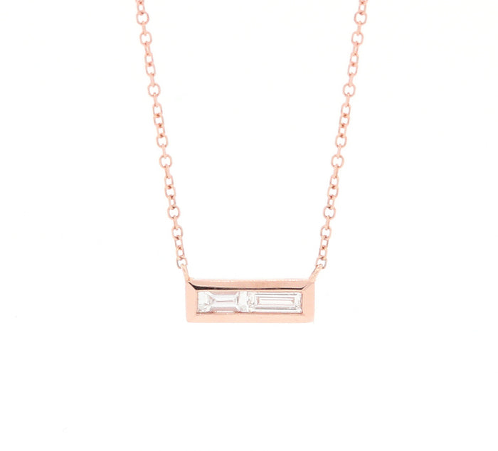 Double Baguette Diamond Necklace Rose