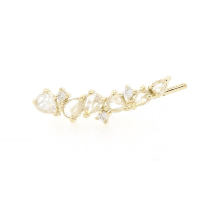 Rose Cut Diamond Scatter Ear Climbers Yellow