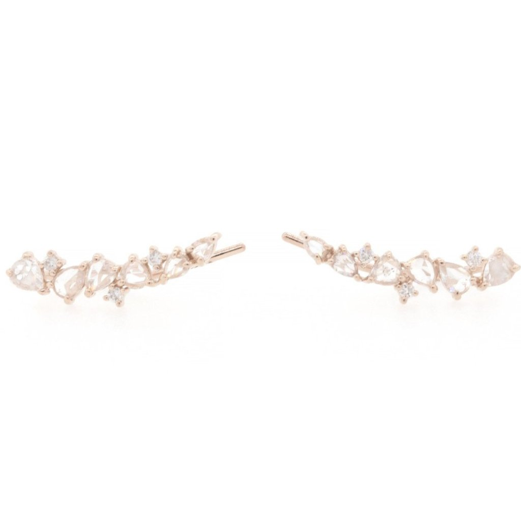 Rose Cut Diamond Scatter Ear Climbers Rose