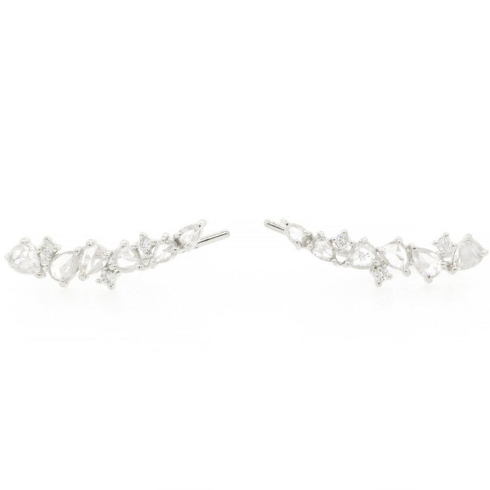 Rose Cut Diamond Scatter Ear Climbers White
