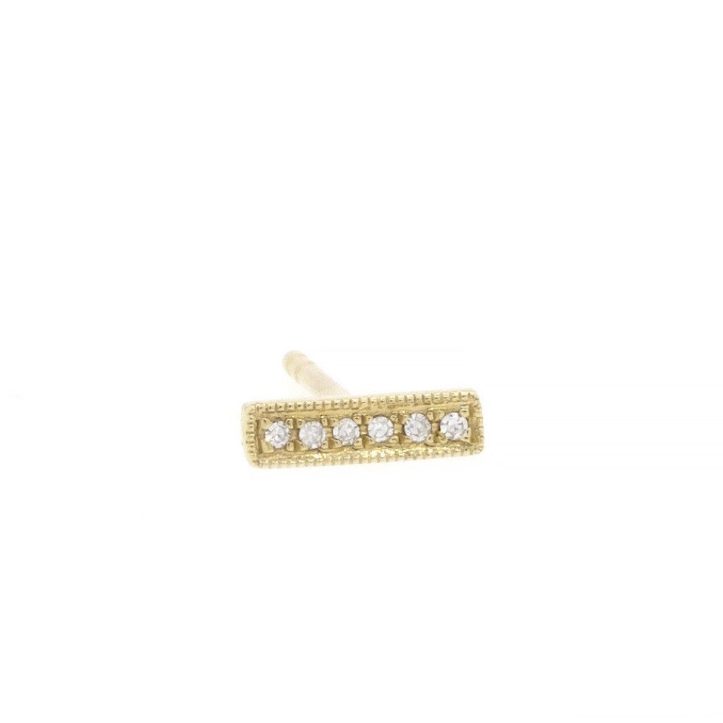 Diamond Bar Stud Earrings Yellow