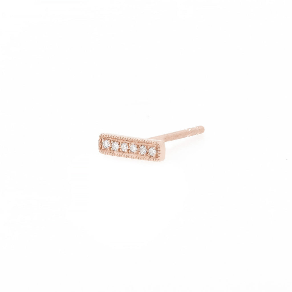 Diamond Bar Stud Earrings White