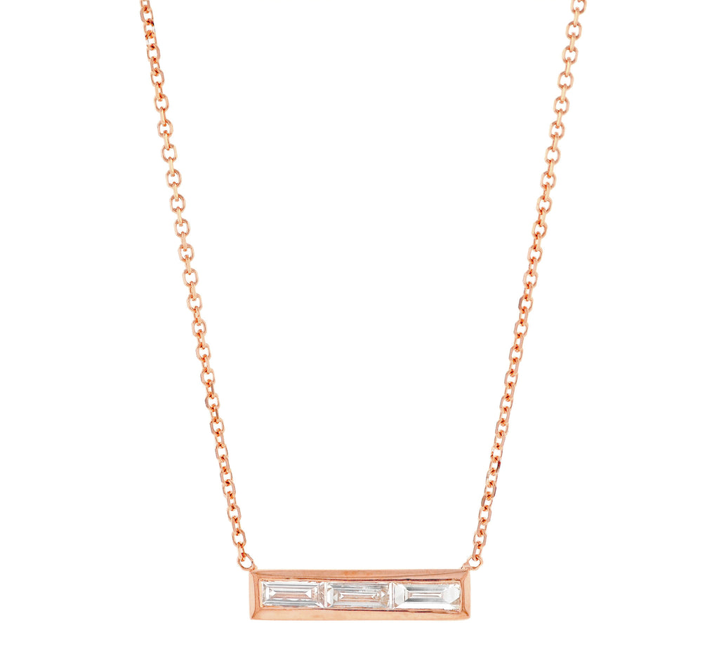 Triple Baguette Diamond Necklace Yellow