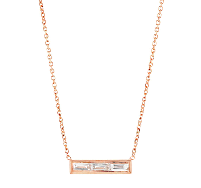Triple Baguette Diamond Necklace Rose
