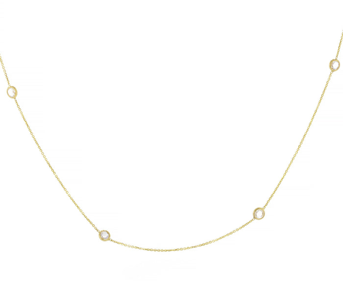 Diamond Station Choker Necklace - Yellow