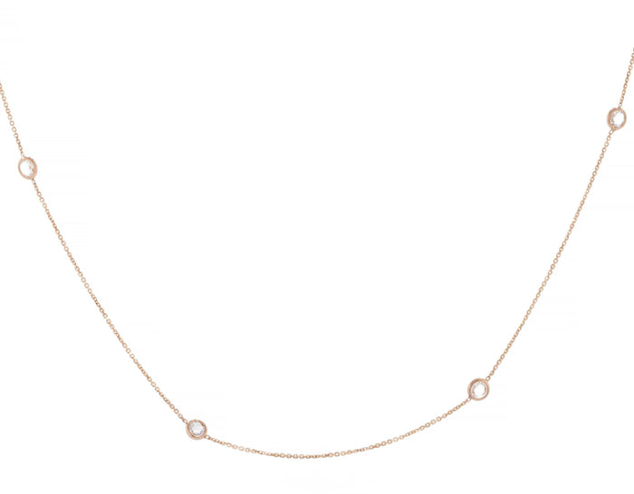 Diamond Station Choker Necklace - Rose