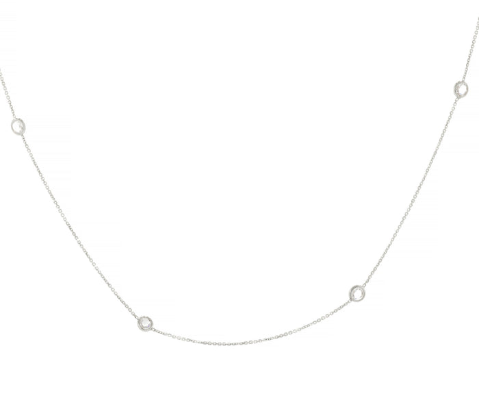 Diamond Station Choker Necklace - White