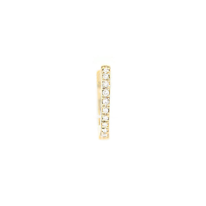 Ultra Petite Pave Huggie Single Earring - Yellow