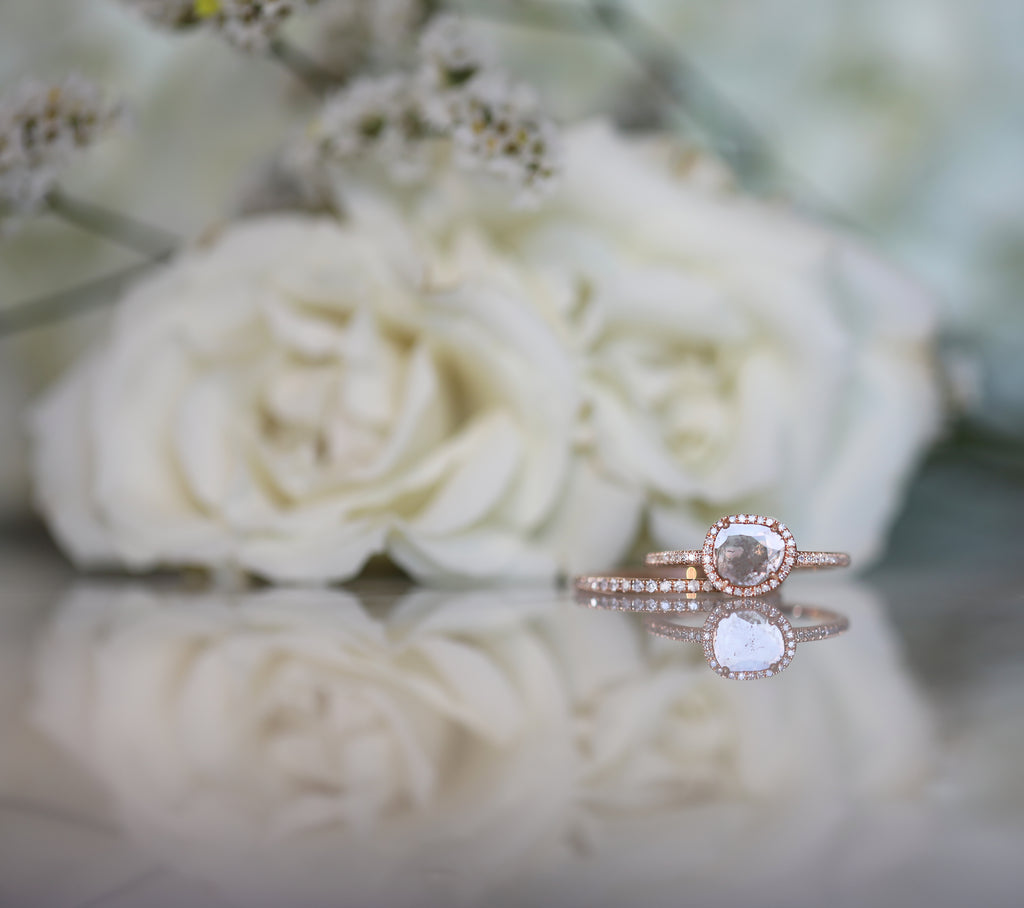 Diamond Slice Ring with Pave Band-Rose