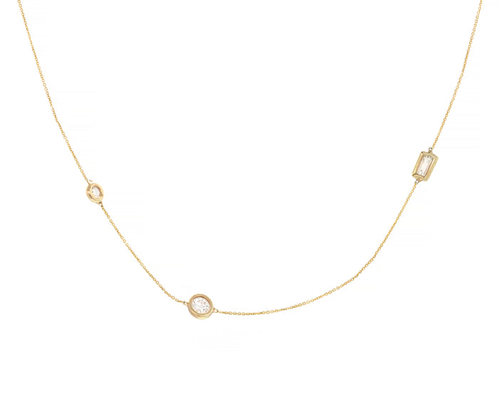 Three Diamond Station Wendy Necklace - Yellow