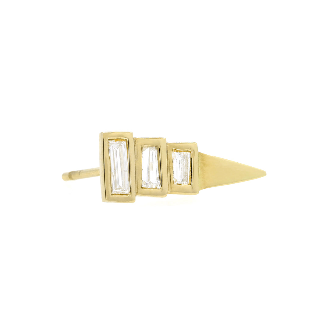 Baguette Diamond Pyramid Stud Earring