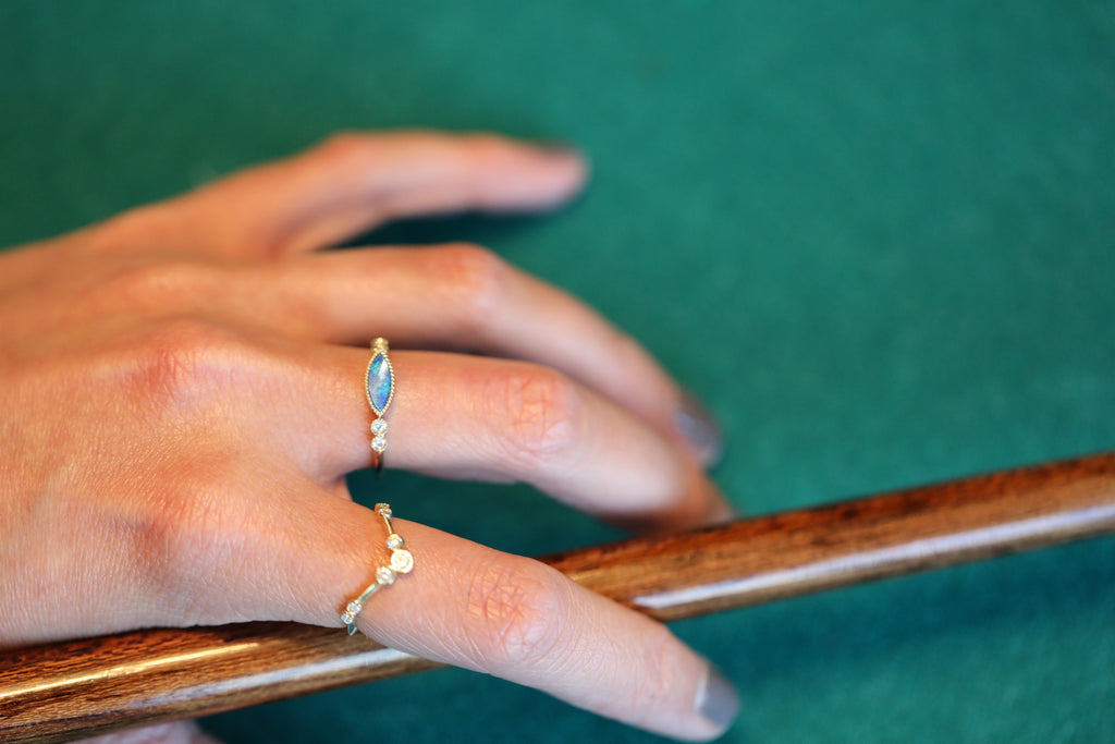 Milgrain Green Opal Inlay Diamond Ring