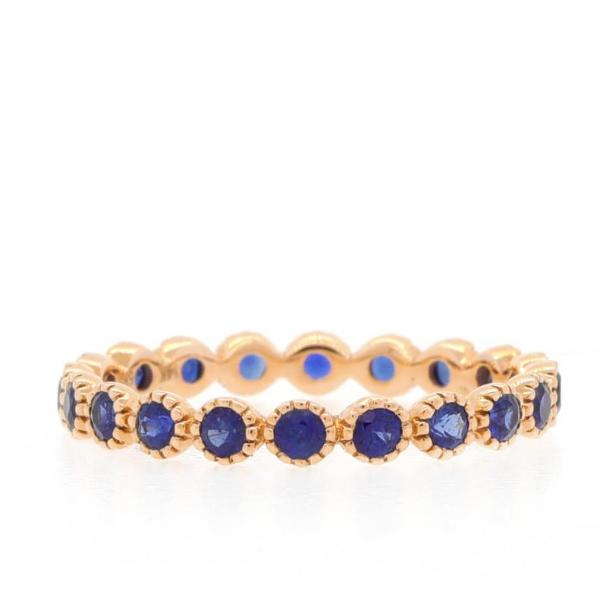 Fancy Bezel Diamond Eternity Ring Blue Sapphire